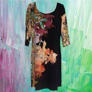 black scoopneck dress - watercolor floral pattern